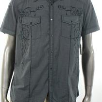 Inc New Gray Shirt Button Up Short Sleeve Graphic Top Mens Size Large L 49 Photo