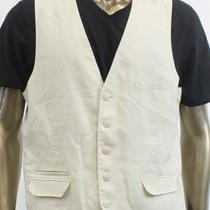 Inc New Ivory Vest Mens Size Large L Linen Blend Panel Waist Coat Outerwear  59 Photo