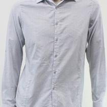 Inc New Mens Gray Striped Dress Shirt Size Small S Casual Career Long Sleeve Top Photo