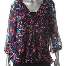 Inc New Purple Sheer Pleated Floral Print Sheer 3/4 Sleeves Blouse Top Shirt 10 Photo