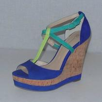 Inc New Size 7.5 Blue Green Suede Cork Platform Wedge Open Toe Sandal 89 Roslin Photo