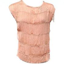 Inc New Solid Pink Pale Blush Women's Small S Connected-Fringe Blouse 59 285- Photo
