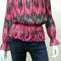 Inc New Tribal Escape Womens Petite 4p Sheer Keyhole Smock Blouse Top 17ns.1 Photo