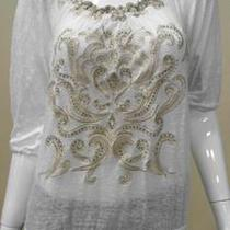 Inc Rio Womens Petite Ps Linen Scoop Neck Sequin Peasant Top White Ladies 1nnm.1 Photo