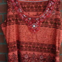 Inc Size Large Gorgeous Beaded Stretch Bright Summer Top Photo