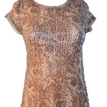 Inc Tops Glittery Sequined Snake Print Shear Top Retail 69.50 Medium Photo