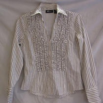 Inc White Black Stripes Blouse Ruffle v Cut Chest Dress Shirt Blouse 4p S Photo