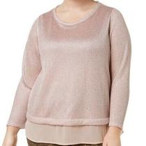Inc Women's Top Blush Pink Size 1x Plus Shimmer Metallic Layered Look 79- 312 Photo