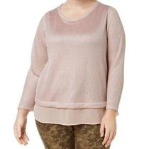 Inc Women's Top Blush Pink Size 2x Plus Shimmer Metallic Layered Look 79-  313 Photo