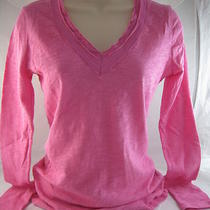 Inc Women's Toplong Sleeve Voile Trim Vneck Candy Pink Tee Shirt Sz S Nwt Photo