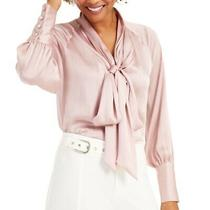 Inc Womens Blouse Blush Pink Size Small S Satin Tie Neck Button Sleeve 69- 410 Photo