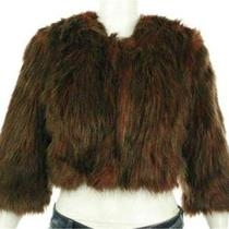 Inc Womens Misses Faux Fur Cropped Parachute Jacket Sz L Burnt Amber Coat Sale Photo