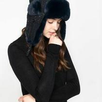 Inc Woven Shine Faux Fur Trapper Hat Navy Blue Osfm Women New W/ Tags Nwt Photo