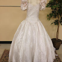 Incredible Blush Wedding Dress Ball Gown Short Sleeve Lace and Pearls Medium Photo