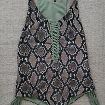 Indah Margaux Reversible Fringe Lace Up One Piece Swimsuit Size M Army Green Photo