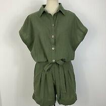 Indah Sz L Cotton Olive Green Oversized Button Down Shirt Bow High Waist Romper  Photo