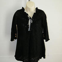 Indah Sz Xs Top Tunic Mini Joy Black Eyelet Cotton Planet Blue New 125 Tags Photo