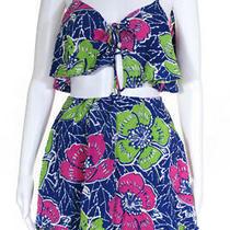 Indah Womens Sleeveless Spaghetti Strap Printed Sun Dress Blue Size Xs Photo