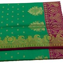 Indian Art Silk Woven Zari Brocade Saree Curtain Drape Dress Fabric Aqua Green Photo