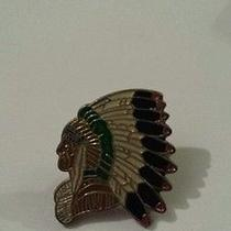Indian Native American Headdress Chief Pin Vintage Photo