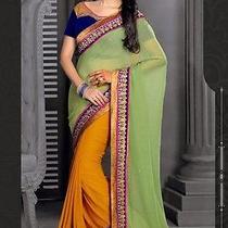 Indian Wedding Designer Saree Honeydew Orange Trendy Embroidered Sari 42727 Photo