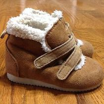 Infant Baby Gap Winter Tan Suede Leather Insulated Fur Lined Snow Boots Sz 4 Photo