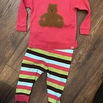 Infant Baby Girl Gap 6-12 Month Teddy Bear Long Sleeve Pants Pajamas Stripes Photo