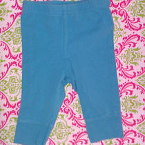 Infant Baby Girls Aqua Blue Stretch Capri Legging Pants 3mo  Photo