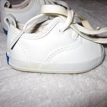 Infant Baby Keds Leather White Sneakers With Laces Photo