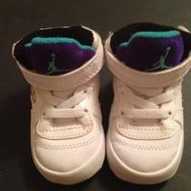 Infant Baby Nike Jordans Soft Sole Crib Shoes Aqua and Purple Sz 2 2c Photo