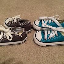 Infant Blue and Grey Converse Size 3 Photo
