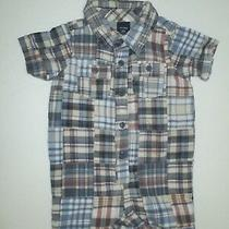 Infant Boys Baby Gap Blue Plaid Jersey Lined Patchwork Shortall Outfit Sz 6-12 M Photo