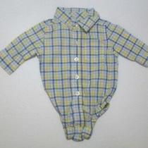 Infant Boys Baby Gap Blue & Yellow Pocket Bodysuit Button Down Shirt Sz 0-3 Mon Photo