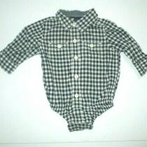 Infant Boys Baby Gap Navy Blue Check Button Down Bodysuit Size 3-6 Months Photo