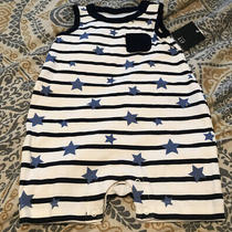 Infant Boys Baby Gap Navy Blue Stars and Strtank Shortall Outfit Size 3-6 Months Photo