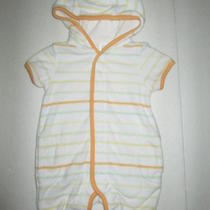 Infant Boys Baby Gap Yellow Green Striped Terry Hooded Romper Outfit Nb 0-3m Photo