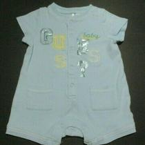 Infant Boys Guess Baby Blue Applique Logo Shortall Outfit Size 6-9 Months Photo