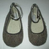 Infant Girls Baby Gap Brown Chevron Tweed Wool Ankle Dress Shoes Size 3-6 Months Photo
