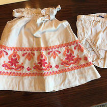 Infant Girls Baby Gap Dress W/panty Tan W/orange & Red 0-3m Photo