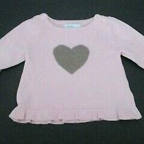 Infant Girls Baby Gap Dusty Rose Pink Taupe Heart Pullover Sweater Size 0-3 Mon Photo