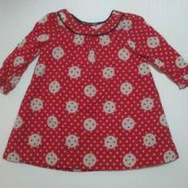 Infant Girls Baby Gap Red Button Polka Dot Swing Dress Size 6-12 Months Photo