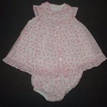 Infant Girls Camilla Pink Calico Floral Button Down Dress Set Size 3 Months Photo
