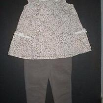 Infant Girls Camilla Pink & Taupe Floral Leggings Tunic Outfit Size 3-6 Months Photo