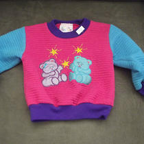 Infant Girls Pink/aqua Longsleeve Top W/teddy Bears on Front 24 mos.100% Poly Photo