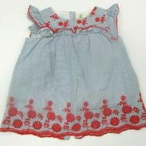 Infant Girls Zara Baby Collection Blue & Red Striped Eyelet Trim Dress Sz 3-6 M Photo