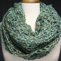 Infinity Loop Scarf Loose Weave Gold Metallic Thread Accent Bulky Green Aqua  Photo