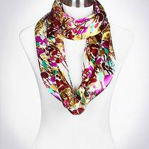Infinity Scarf Purple Burgundy Aqua Abstract Floral Polyester 13 X 60 Hot Photo