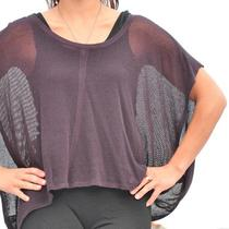 Inhabit Cashmere Linen Knit Purple Black Mesh Batwing Boxy Sweater Top Sz P Euc Photo