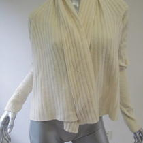 Inhabit Cream Ribbed Cashmere Draped Cardigan M Photo
