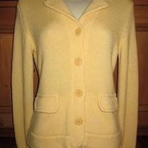 Inhabit Thick 100% Cashmere Yellow Cardigan Sweater M Photo